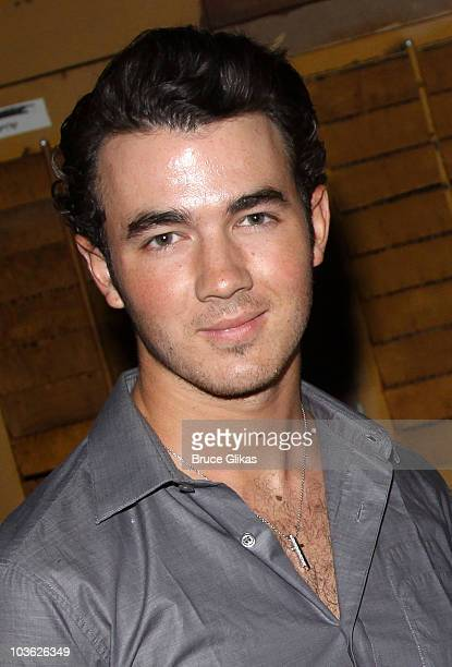 Kevin Jonas poses backstage at The Addams Family On Broadway at the LuntFontanne Theatre on August 24 2010 in New York City