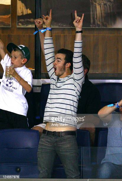 Kevin Jonas reacts after a goal during the game between the New York Red Bulls and Vancouver Whitecaps FC at Red Bull Arena on September 10 2011 in...