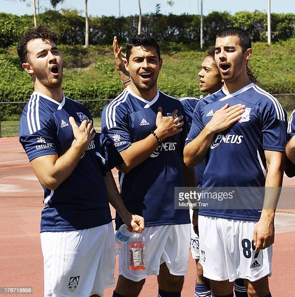 Kevin Jonas Wilmer Valderrama and Joe Jonas attend The Jonas Brothers host a charity soccer match held at StubHub Center track and field on August 17...