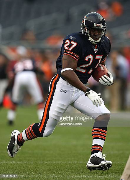 Kevin Jones of the Chicago Bears runs with the ball during warmups before a game against the San Francisco 49ers on August 21 2008 at Soldier Field...