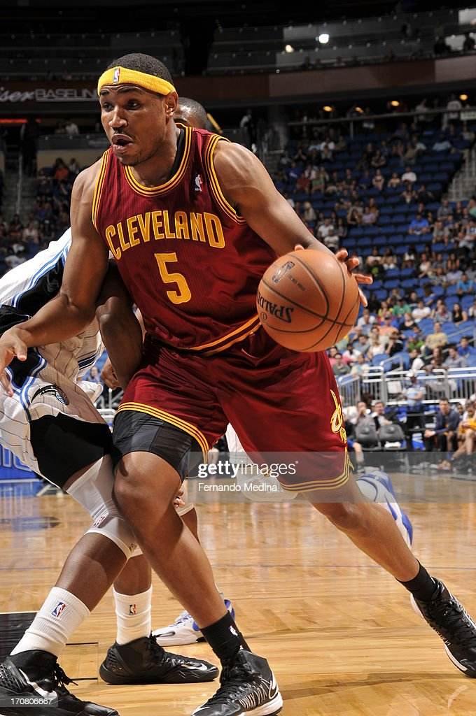 Kevin Jones #5 of the Cleveland Cavaliers handles the ball against the Orlando Magic during the game on February 23, 2013 at Amway Center in Orlando, Florida.
