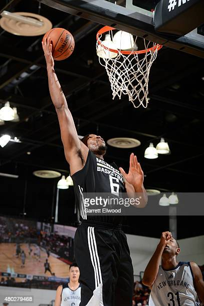 Kevin Jones of the Milwaukee Bucks shoots against the New Orleans Pelicans on July 10 2015 at Cox Pavilion in Las Vegas Nevada NOTE TO USER User...