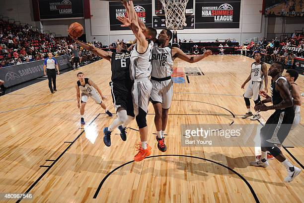 Kevin Jones of the Milwaukee Bucks shoots against the Phoenix Suns during the 2015 NBA Las Vegas Summer League game on July 16 2015 at The Cox...