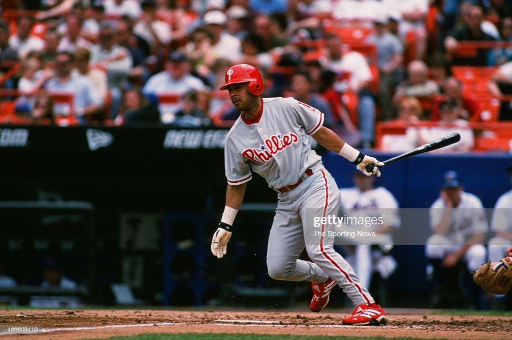 Kevin Jordan of the Philadelphia Phillies bats against the New York Mets at Shea Stadium on May 28, 2001 in the Flushing neighborhood of the Queens borough of New York City.