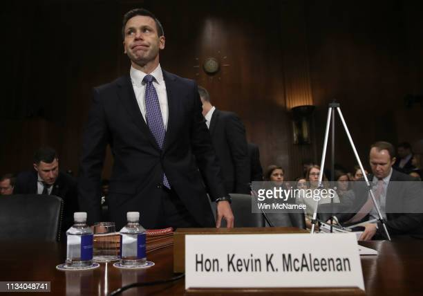 Kevin K McAleenan commissioner of US Customs and Border Protection arrives to testify before the Senate Judiciary Committee March 6 2019 in...