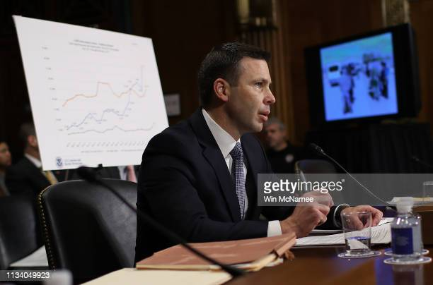 Kevin K McAleenan commissioner of US Customs and Border Protection testifies before the Senate Judiciary Committee March 6 2019 in Washington DC...