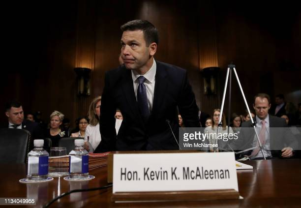 Kevin K McAleenan commissioner of US Customs and Border Protection arrives for testimony before the Senate Judiciary Committee March 6 2019 in...