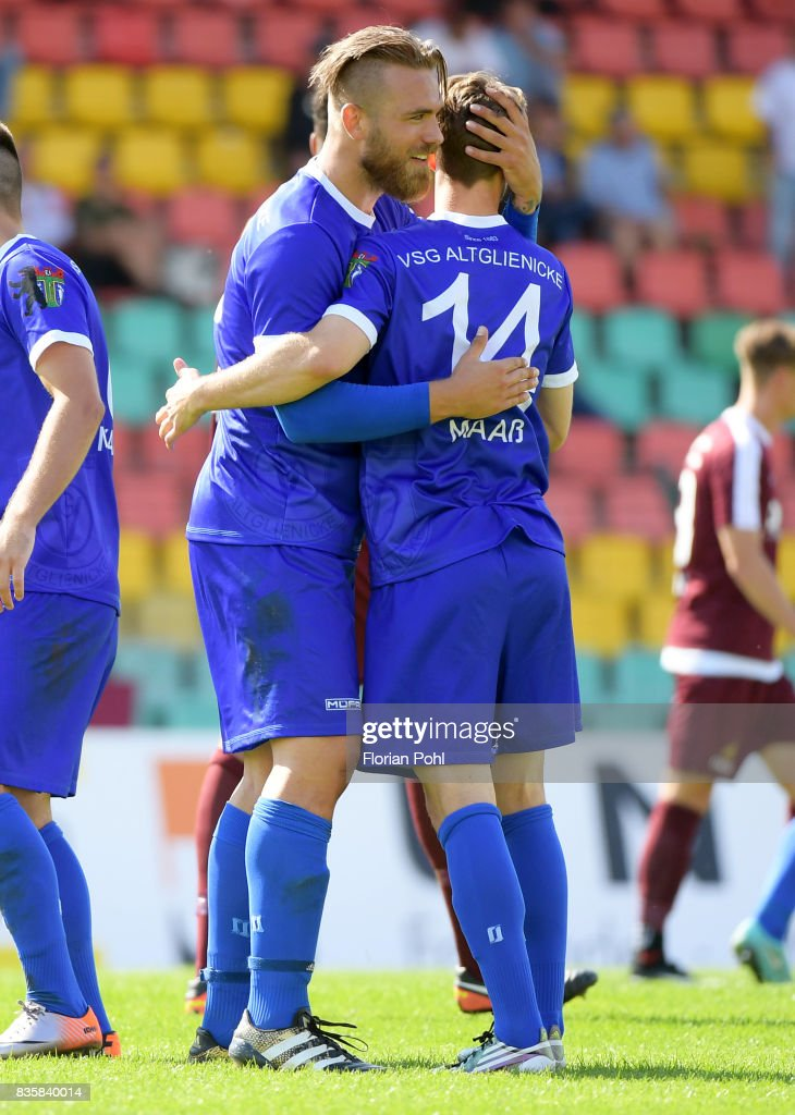 Kevin Kahlert and Jerome Maass of VSG Altglienicke after the game between BFC Dynamo Berlin and VSG Altglienicke on august 20, 2017 in Berlin, Germany.