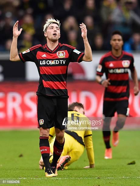 Kevin Kampl of Bayer Leverkusen reacts during the Bundesliga match between Bayer Leverkusen and Borussia Dortmund at BayArena on February 21 2016 in...