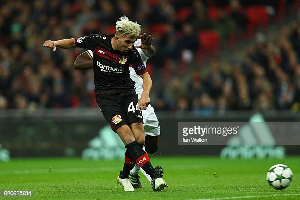 Kevin Kampl of Bayer Leverkusen scores his sides first goal during the UEFA Champions League Group E match between Tottenham Hotspur FC and Bayer 04...