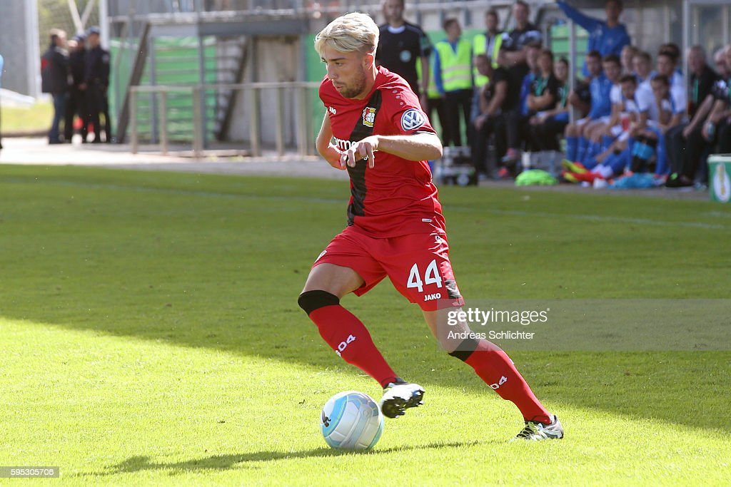 Kevin Kampl of Bayer Leverkusenn during the DFB Cup match between SC Hauenstein and Bayer 04 Leverkusen at Stadium Husterhoehe on August 19, 2016 in Pirmasens, Germany.