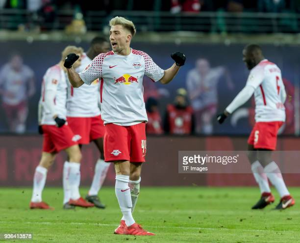 Kevin Kampl of Leipzig celebrates after winning the Bundesliga match between RB Leipzig and FC Bayern Muenchen at Red Bull Arena on March 18 2018 in...
