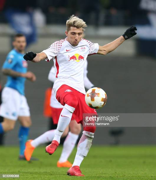 Kevin Kampl of Leipzig controls the ball during the UEFA Europa League Round of 32 match between RB Leipzig and Napoli at the Red Bull Arena on...