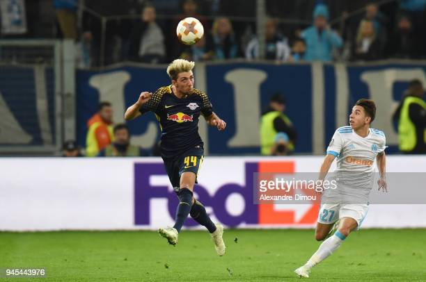 Kevin Kampl of Leipzig during the UEFA Europa League quarter final second leg match between Olympique Marseille and RB Leipzig at Stade Velodrome on...