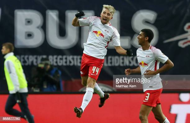 Kevin Kampl of Leipzig jubilates after scoring the first goal during the Bundesliga match between RB Leipzig and 1FSV Mainz 05 at Red Bull Arena on...