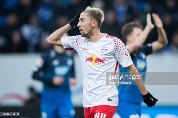 Kevin Kampl of Leipzig reacts during the Bundesliga match between TSG 1899 Hoffenheim and RB Leipzig at Wirsol RheinNeckarArena on December 2 2017 in...