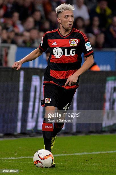 Kevin Kampl of Leverkusen runs with the ball during the Bundesliga match between Bayer Leverkusen and 1 FC Koeln at BayArena on November 7 2015 in...