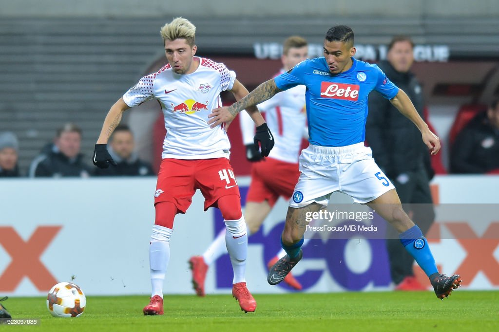 Kevin Kampl of RB Leipzig and Marques loureiro Allan of Napoli during UEFA Europa League Round of 32 match between RB Leipzig and Napoli at the Red Bull Arena on February 22, 2018 in Leipzig, Germany.