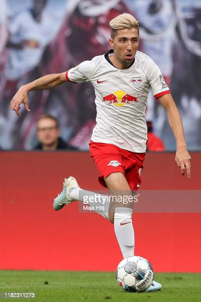 Kevin Kampl of RB Leipzig controls the ball during the Bundesliga match between RB Leipzig and VfL Wolfsburg at Red Bull Arena on October 19 2019 in...