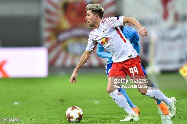 Kevin Kampl of RB Leipzig in action during the UEFA Europa League quarter final leg one match between RB Leipzig and Olympique Marseille at Red Bull...