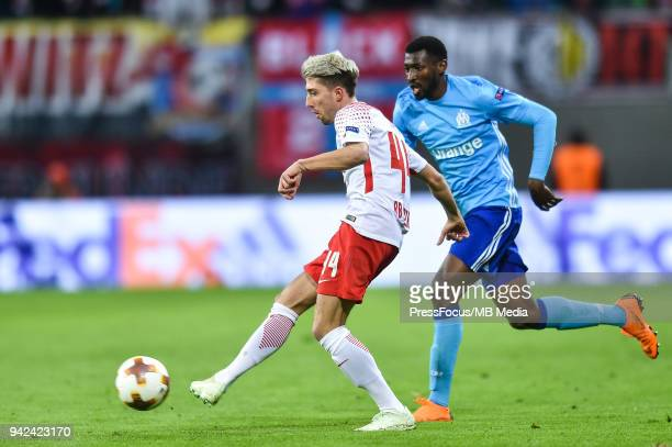 Kevin Kampl of RB Leipzig passes the ball during the UEFA Europa League quarter final leg one match between RB Leipzig and Olympique Marseille at Red...