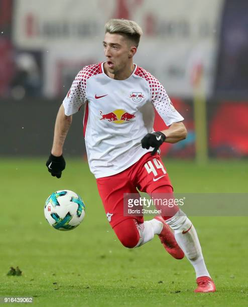 Kevin Kampl of RB Leipzig runs with the ball during the Bundesliga match between RB Leipzig and FC Augsburg at Red Bull Arena on February 9 2018 in...