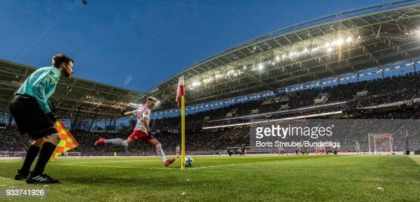 Kevin Kampl of RB Leipzig takes a corner during the Bundesliga match between RB Leipzig and FC Bayern Muenchen at Red Bull Arena on March 18 2018 in...