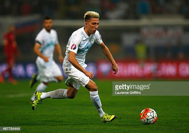 Kevin Kampl of Slovenia in action during the UEFA EURO 2016 qualifier playoff second leg match between Slovenia and Ukraine at Ljudski Vrt Stadium on...