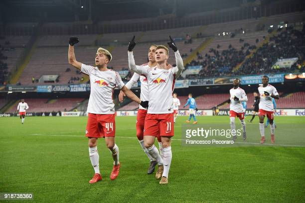 Kevin Kampl Yussuf Poulsen and Timo Werner of RB Leipzig celebrate the 11 goal scored by Timo Werner during UEFA Europa League Round of 32 match...