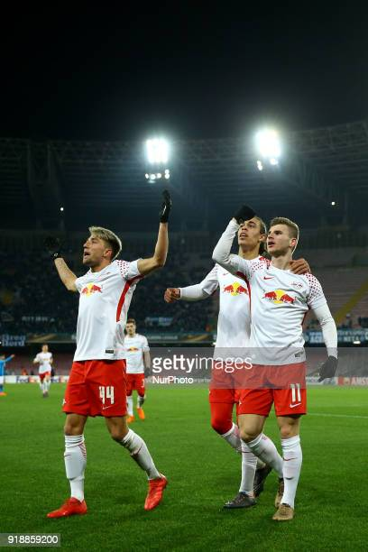 Kevin Kampl Yussuf Poulsen and Timo Werner of RB Leipzig celebrate the victory after UEFA Europa League Round of 32 match between Napoli and RB...