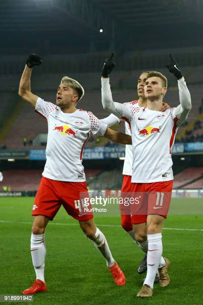 Kevin Kampl Yussuf Poulsen and Timo Werner of RB Leipzig celebration during UEFA Europa League Round of 32 match between Napoli and RB Leipzig at the...