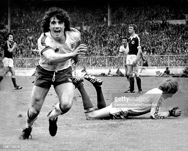 Kevin Keegan after scoring for England v Scotland in the 1979 British Home Championship at Wembley Stadium London 26th May 1979