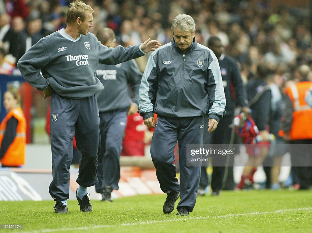 Kevin Keegan and Stuart Pearce after the Barclays Premiership match between Crystal Palace and Manchester City at Selhurst Park on September 18, 2004 in London, England.