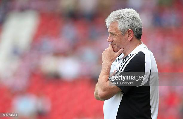 Kevin Keegan looks on during a Pre-Season friendly game between Doncaster Rovers and Newcastle United at the Keepmoat Stadium on July 26, 2008 in...