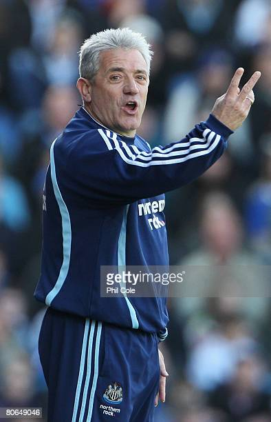 Kevin Keegan manager of Newcastle United gestures during the Barclays Premier League match between Portsmouth and Newcastle United at Fratton Park on...