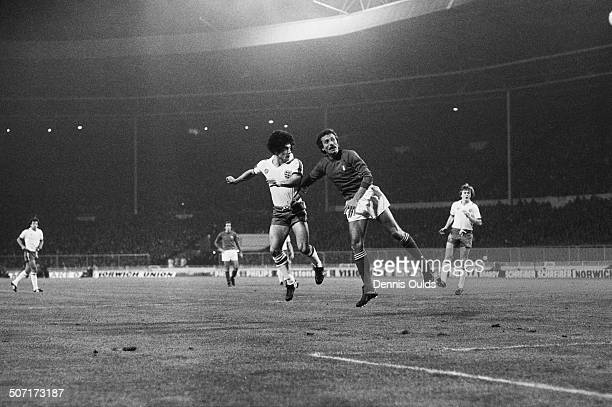 Kevin Keegan of England scores the first goal in a World Cup qualifying match against Italy at Wembley Stadium London 17th November 1977 England won...