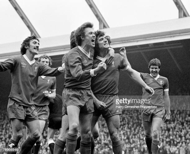 Kevin Keegan of Liverpool celebrates after scoring with teammates during the Football League Division One match between Liverpool and Manchester City...