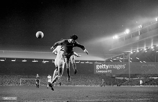 Kevin Keegan of Liverpool leaps with Peter Krivokuka of Red Star Belgrade during the European Cup 2nd Round 1st Leg Match between Liverpool and Red...