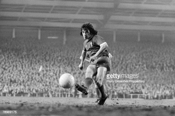 Football 28th April 1976 Anfield Liverpool UEFA Cup Final 1st Leg Liverpool 3 v FC Bruges 2 Liverpools Kevin Keegan shoots from the penalty spot as...