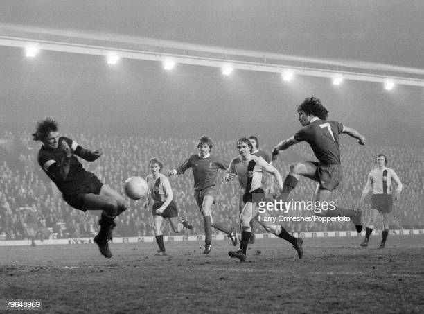 Kevin Keegan of Liverpool scores past Dynamo Dresden goalkeeper Claus Boden during the UEFA Cup Quarter Final 2nd Leg at Anfield on March 15, 1976 in...