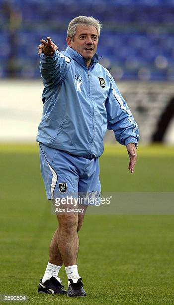 Kevin Keegan, the manager of Manchester City, gestures during a training session ahead of the UEFA Cup first round, second-leg match against Sporting...