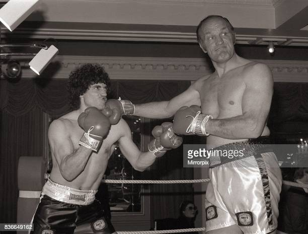 Kevin Keegan with Henry Cooper filming a commercial for Faberge product Brut 33