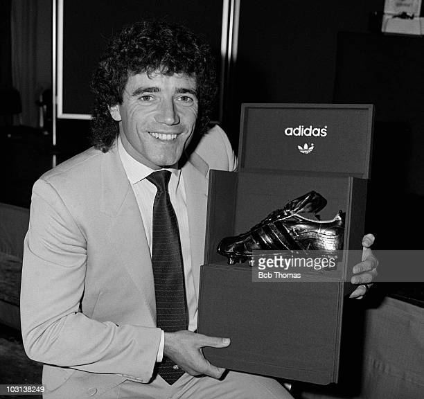 Kevin Keegan with his Golden Boot as the leading goalscorer in the 1st Division for season 1981/82 at the Adidas Golden Boot award ceremony in London...