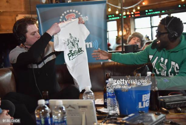 Kevin KFC Clancy and Kevin Hart attend Kevin Hart Live on Barstool Radio on SiriusXM at Super Bowl LII on February 2 2018 in Minneapolis Minnesota