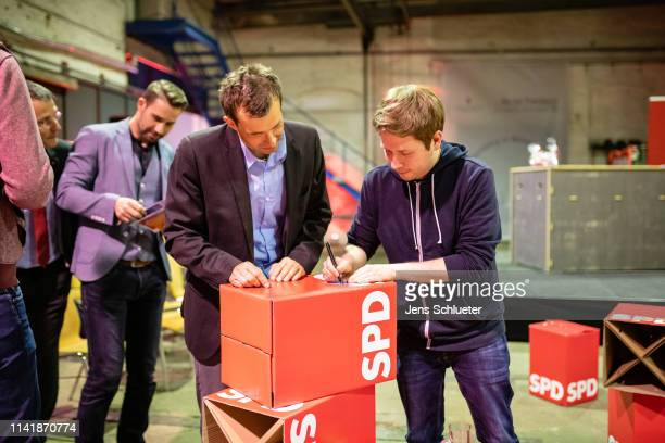 Kevin Kühnert head of Jusos the youth arm of the German Social Democrats during an event to promote SPD candidates in local city council elections on...