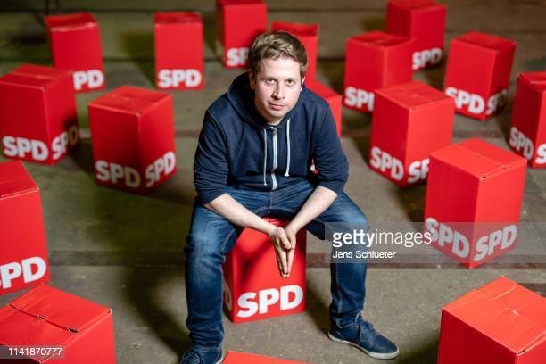 Kevin Kühnert, head of Jusos, the youth arm of the German Social Democrats , poses for a photo during an event to promote SPD candidates in local...