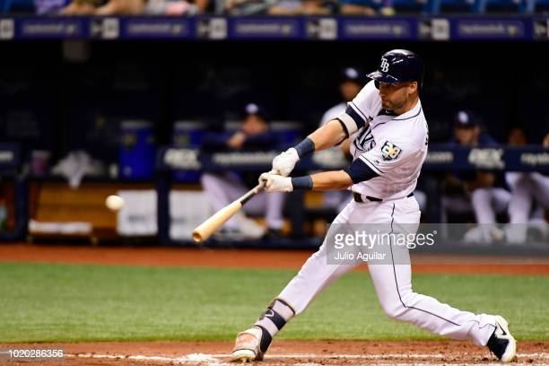 Kevin Kiermaier of the Tampa Bay Rays a single in the second inning against the Kansas City Royals on August 20 2018 at Tropicana Field in St...