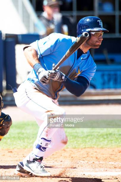 Kevin Kiermaier of the Tampa Bay Rays bats during a spring training game against the Pittsburgh Pirates at Charlotte Sports Park on March 20 2017 in...