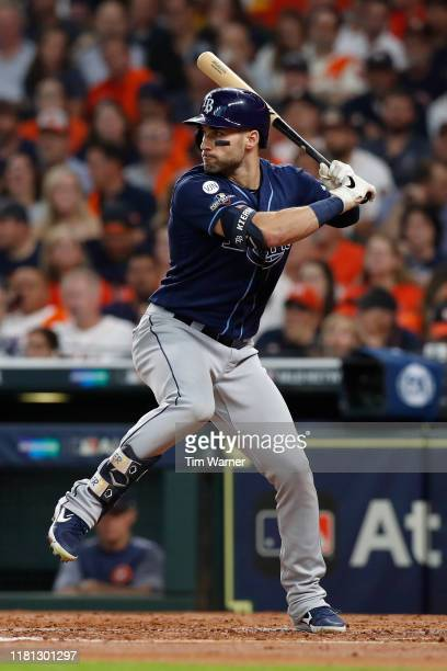 Kevin Kiermaier of the Tampa Bay Rays bats in the second inning against the Houston Astros during game five of the American League Divisional Series...