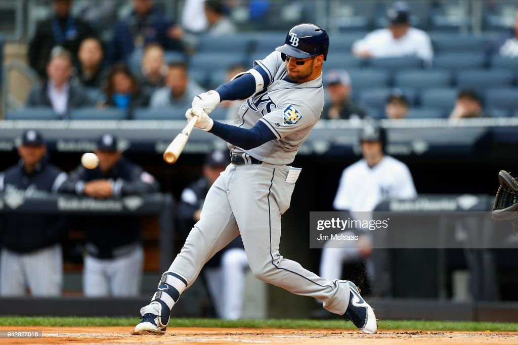 Kevin Kiermaier #39 of the Tampa Bay Rays connects on a first inning single against the New York Yankees at Yankee Stadium on April 4, 2018 in the Bronx borough of New York City.